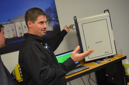 NCR Operations Manager, Shaun Vibert, demonstrates the MKS AIRGARD